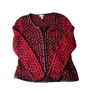 Chico's Red and Black Zip Up Cardigan Sweater